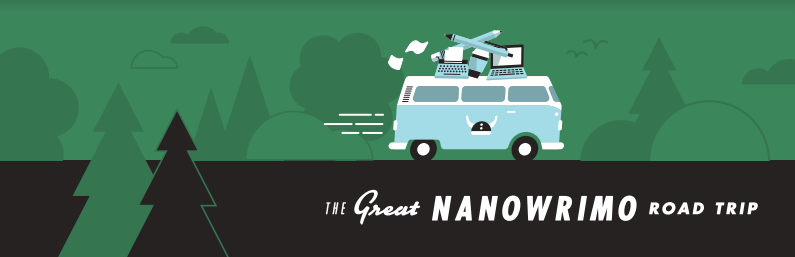 The Great NaNoWriMo Road Trip banner features a VW van with the NaNoWriMo Viking helmet on the side, driving through a forest landscape.