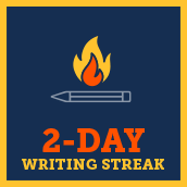 Day 2 writing badge